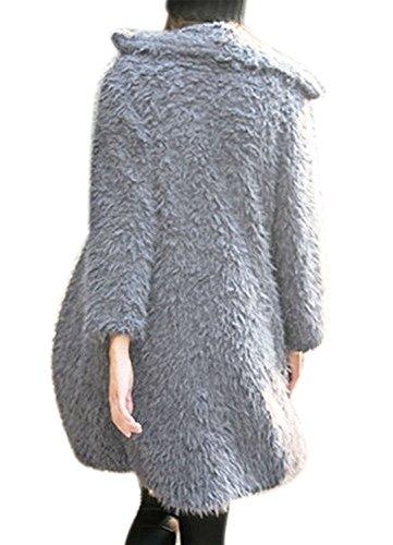 Cardigan Outwear Finta Giacche Landove Cappotto Ragazza Grigio Donna Invernali Cappotti Giubbotto Pelliccia Risvolto qffnSz