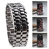 Chopmall® Black metal strip digital lava style Iron sport Mens Red LED faceless wrist watch