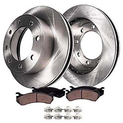 Detroit Axle - Pair (2) Front Disc Brake Kit Rotors w/Ceramic Pads w/Hardware for 2011 2012 2013 2014 2015 2016 Chevy GMC Silverado Sierra 2500 HD 3500 HD: Automotive