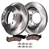 Detroit Axle - Pair (2) Rear Disc Brake Rotors w/Ceramic Pads w/Hardware for 1999-2004 Ford F-250 - [1999-2004 Ford F-350 Super Duty SINGLE REAR WHEEL MODELS] - [2000-2005 Excursion]