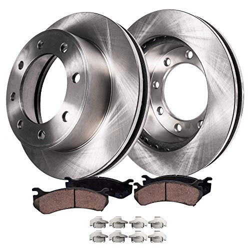 Detroit Axle - Pair (2) Rear Disc Brake Rotors w/Ceramic Pads w/Hardware for 1999-2004 Ford F-250 - [1999-2004 Ford F-350 Super Duty SINGLE REAR WHEEL MODELS] - [2000-2005 Excursion] ()