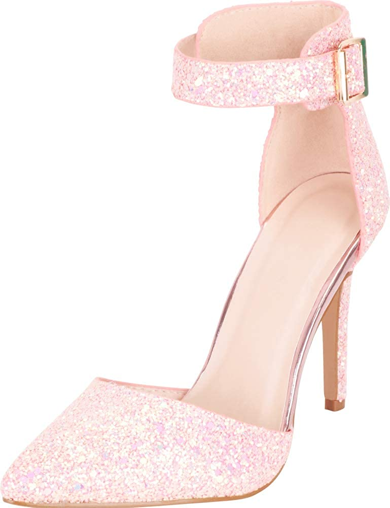 Pink Cambridge Select Women's Pointed Toe D'Orsay Ankle Strap Iridescent Glitter Stiletto High Heel Pump