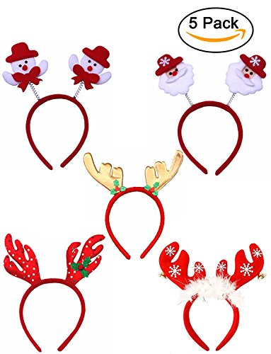 Youniker 5 Pack Christmas Headband, Cute Christmas Headbands for Women Girls Santa Headbands Hair Bands for Kids Christmas Decoration Hair Hoop with Different Designs for Christmas and Holiday Party