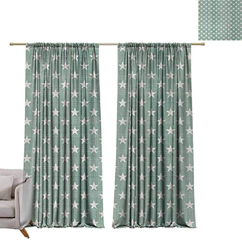 (Curtain Panels Modern,Stars Pattern on Plaid Background Classic Style Simple Home Decoration Artwork Print,Green Grey W96 x L84 Grommet Curtain for Bedroom)
