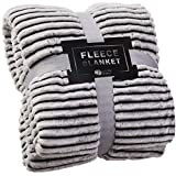 GREEN ORANGE Fleece Throw Blanket for Couch - 50x60, Lightweight, Black and White - Soft, Plush, Fluffy, Warm, Cozy - Perfect for Bed, Sofa