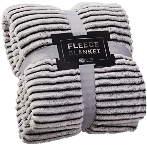 GREEN ORANGE Fleece Throw Blanket for Couch - 50x60, Black and White - Soft, Plush, Fluffy, Warm, Cozy - Perfect for Bed, Sofa