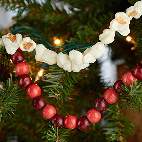 Factory Direct Craft Artificial Popcorn and Red Wood Bead Garland Set   for Christmas Decorating