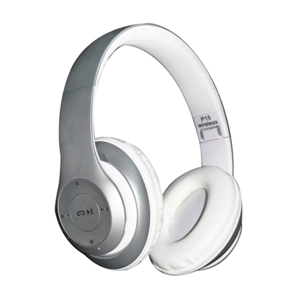 Bluetooth Headphone Over Ear,WONFAST Foldable Wireless Bluetooth 4.1 Earphone HandsFree Music Stereo Headphone with Microphone,Support FM Radio TF (Silver)