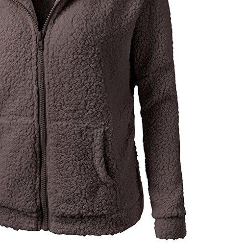 Paymenow Plus Size Winter Coat Clearance Women Warm Zipper Cotton Hooded Coat Outwear (Coffee, XXXXL)