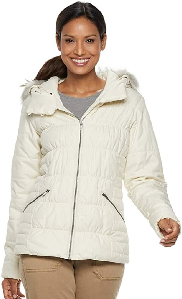 Columbia Womens Sparks Lake Faux-Fur-Trim Thermal Coil Puffer Jacket Natural M