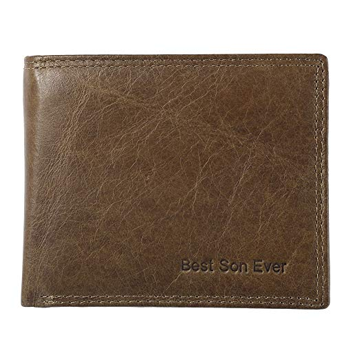Mom To Son Gifts Wallets - Custom Leather Wallet RFID - Personalized Son Birthday Gifts For Family