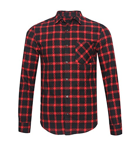 TOPORUS Men's Slim Fit Long Sleeve Plaid Button Down Flannel Shirt B-red - Bean Australia Ll