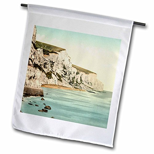 - 3dRose Russ Billington Designs- Old England Photographs - The White Cliffs of Dover- England- Vintage Photograph - 12 x 18 inch Garden Flag (fl_255124_1)