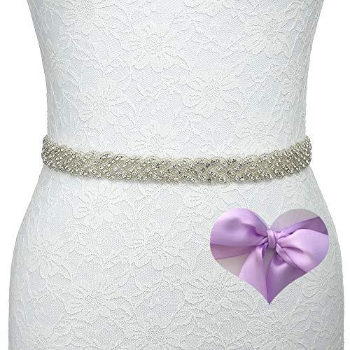 KunLai Thin Rhinestone Belts for Women Bridesmaid Sash Lavender Wedding Sash