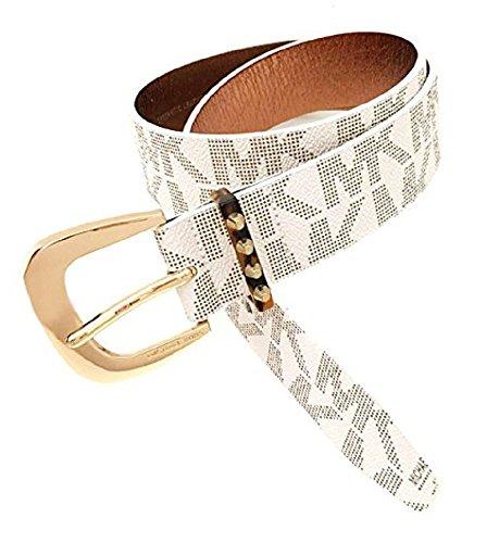 (Michael Kors Signature Jaquard White Belt Gold Buckle Astor Stud Loop (Large))