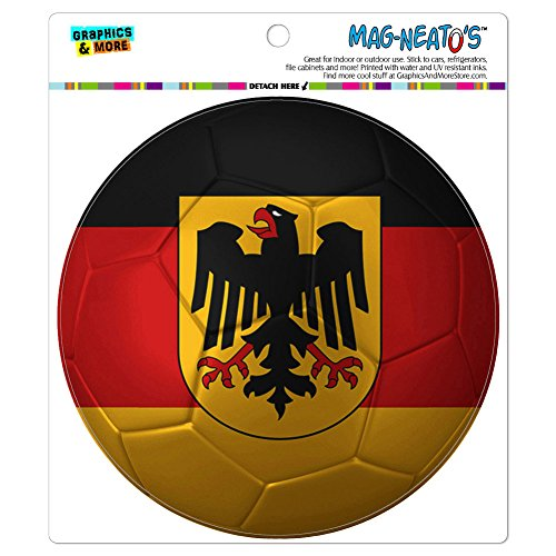 Germany with Crest Flag Soccer Ball Futbol Football MAG-NEATO'S(TM) Automotive Car Refrigerator Locker Vinyl Magnet - Football Car Flag