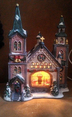 Holiday Christmas Lighted Porcelain Church with Choir Singing