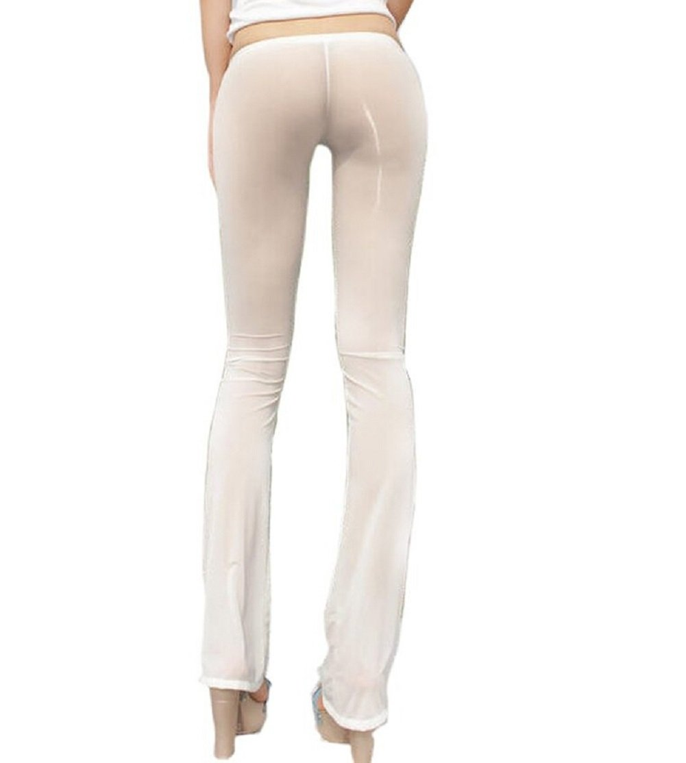 Lazutom Sexy Women Transparent Sheer Long Flare Casual Pants Nylon Tight Legging (White, Asian M)
