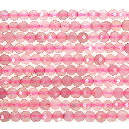 MJDCB 3mm Faceted Natural Madagascar Rose Quartz Round Loose Beads for Jewelry Making DIY Bracelet Necklace