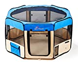"Pawer 36""×18.5"" 8-Panel Foldable Pet Playpen, for Small Medium Cat/Dog/Puppy, Small Size, Blue+Beige, 600D Oxford Cloth Portable Indoor & Outdoor Kennel with Carry Bag For Sale"