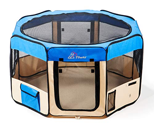 "Pawer 45""×24"" 8-Panel Foldable Pet Playpen, for Small Medium Large Cat/Dog/Puppy, Big Size, Blue+Beige, 600D Oxford Cloth Portable Indoor & Outdoor Kennel with Carry Bag"