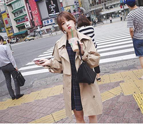 Solapa Color Chic Elegante Manga Botonadura Moda Mujer Larga Cortavientos Doble Caqui Trench Bouffant Primavera Chaqueta Cazadora Battercake Otoño Casual De Abrigo H4Ax8wv