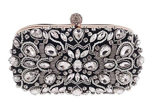 Jancerkmou Diamond Rhinestone Pearls Beaded Wedding Clutch Women's Purse Handbags Wallets Evening Bags Design A Black