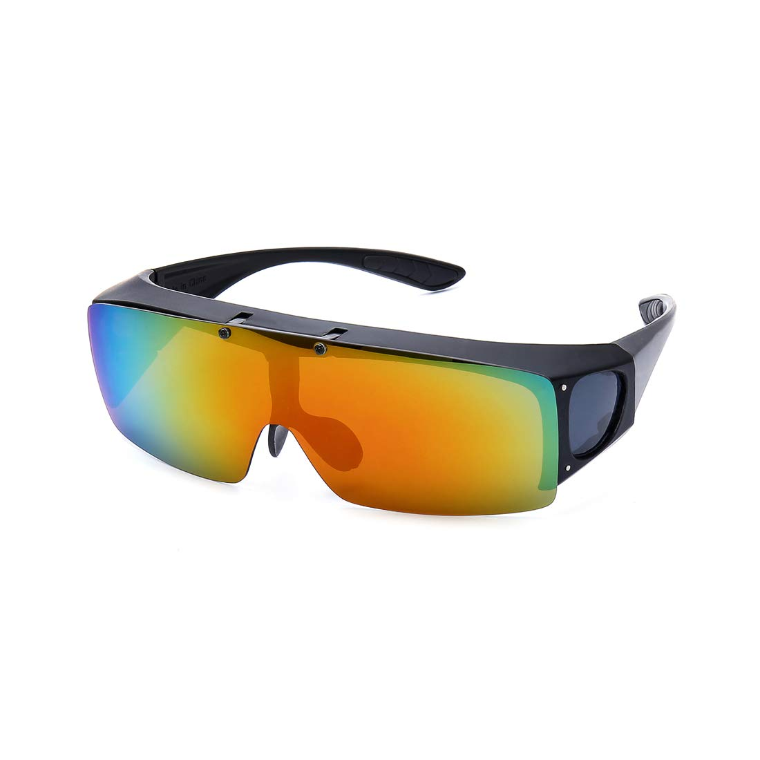 FLIP UP Polarized Sunglasses Driving Glasses UV400 Fitover Sunglasses for men and women (Red, 5.8)