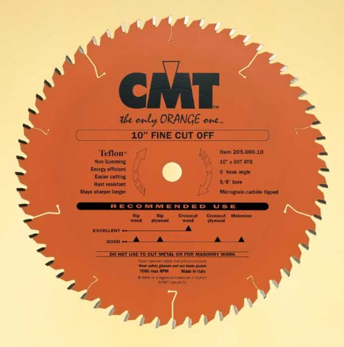 CMT 205.060.10 Industrial Cut-Off ATB Saw Blade, 10-Inch x 60 Teeth 20° ATB Grind with 5/8-Inch Bore, PTFE -
