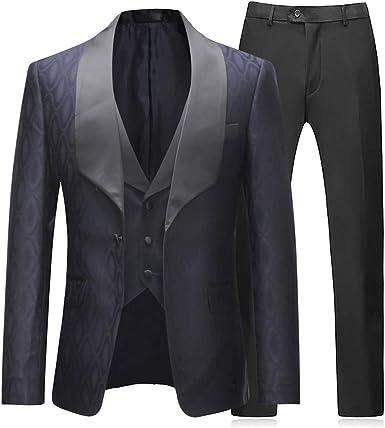 Nouveau homme gris élégant Formel Coupe Ajustée 3 pièce costume-Blazer Gilet Pantalon