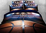 Lebather Blue 3D Basketball Background Print Cotton Bedding Duvet Cover Set with 2 Pillow Sham,1 Flat Sheet,1 Duvet Cover,Twin Size