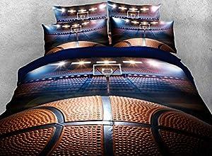 Lebather Blue 3D Basketball Background Print Cotton NBA Sport Bedding Duvet Cover Set with 2 Pillow Sham,1 Flat Sheet,1 Duvet Cover,Twin Size