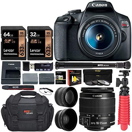Canon EOS Rebel T7 Digital SLR Camera Travel Bundle + EF-S 18-55mm is II Lens + 58mm 2X Professional Telephoto & 58mm Wide Angle Lens + 96GB Memory+ Compact monopod+ Table Tripod+ Bag &More (Digital Camera Slr Canon)