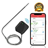 NutriChef - Upgraded - Smart Bluetooth BBQ Grill Thermometer - Stainless Probe Safe to Leave in Oven, Outdoor Barbecue, Meat Smoker - Wireless Remote Alert iOS Android Phone WiFi App - PWIRBBQ40