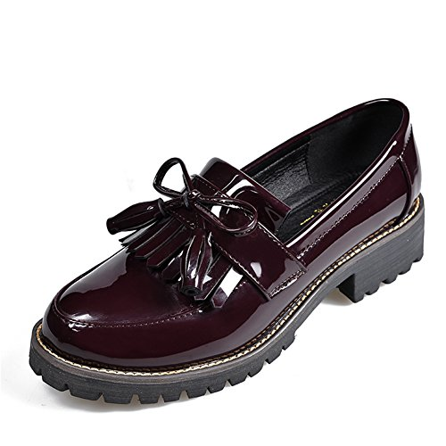 LANSHULAN Womens Juniors Slip On Tassels Enamel Leather Oxfords Shoes Flats Plus Size 34-42 Wine Red YLwua