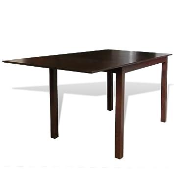 Casasmart Table Marron Bois Massif 150 Cm Extensible Amazonfr