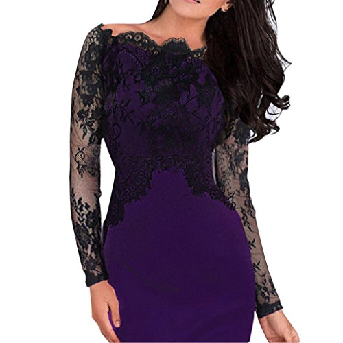 Paymenow Women's Sexy Off Shoulder Lace Patchwork Bodycon Dress Elegant Spring Long Sleeve Party Holiday Midi Dress (Purple, XXL)