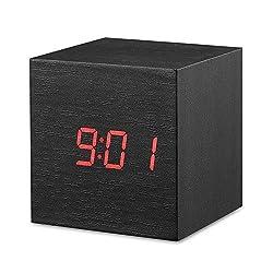 perfeo Digital Alarm Clock, Wood LED Light Mini Modern Cube Desk Alarm Clock Displays Time Date Temperature Kids, Bedroom, Home, Dormitory, Travel