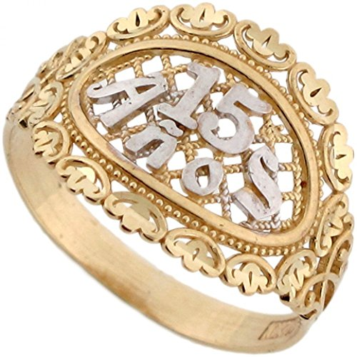Jewelry Liquidation 10k Two-Tone Yellow and White Gold Gorgeous 15 Anos Basket Weave Ring