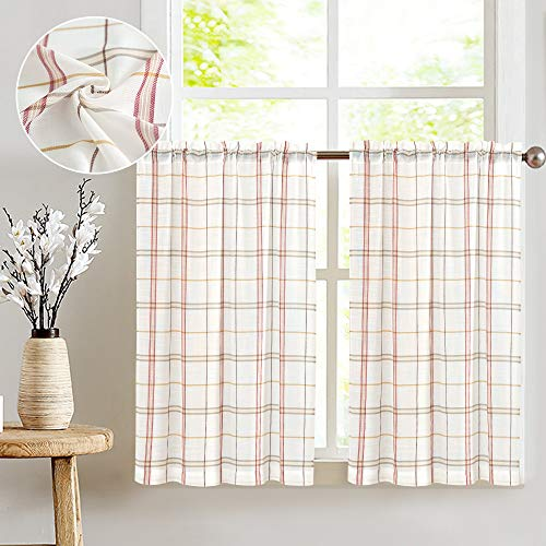 White Tier Curtains Kitchen, Red Taupe Check on White Sheer Curtains Classic Buffalo Checkered Linen Textured Gingham Cafe Curtains 36 inches Long Sold Pair