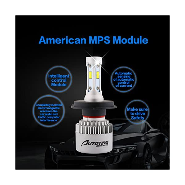 AutoTime LED Automobile Headlight Bulbs 72W 16000LM 6500K CSP Chips All In One Headlight Conversion Kit 2 Year Warranty