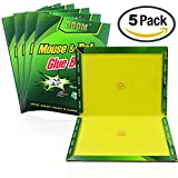 Mouse Trap 5 Pack Peanut Butter Scented Strength Rat Glue Boards Professional Indoor Outdoor Traps Suitable for large and small mice and harmful animals
