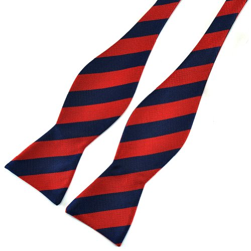 Pensee Mens Self Bow Tie Dark Blue and Red Stripe Jacquard Woven Silk Bow Ties