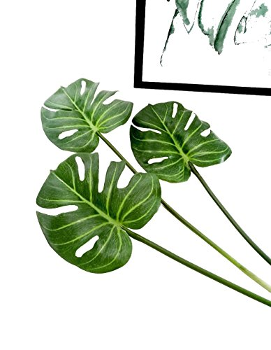 - Ahvoler 3 Pcs Artificial Tropical Palm Leaves Fake Monstera Tree Plant for Home Decorations 24.5
