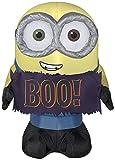 Gemmy 3' Airblown Minion Bob Holding Boo Sign Halloween Inflatable
