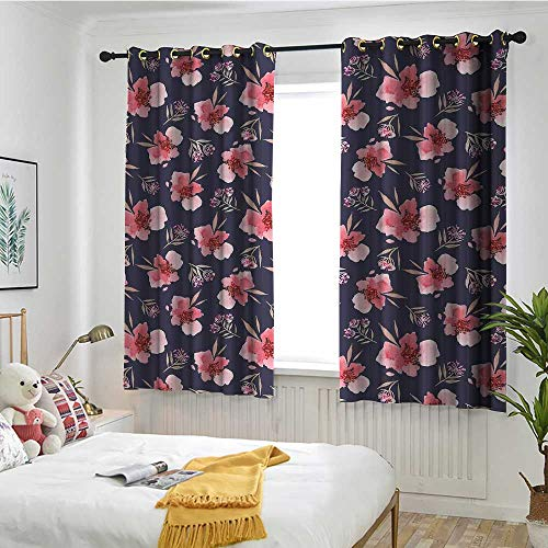 MaryMunger Watercolor Curtains for Bedroom Nature Inspired Composition with Pink Garden Flora Vintage Artistic Petals Blackout Draperies for Bedroom W 63