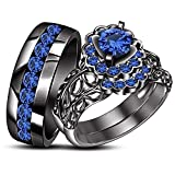 TVS-JEWELS Gemstone His & Hers Trio Set Engagement Ring Wedding Band 925 Silver Black Rhodium Plated (blue sapphire)
