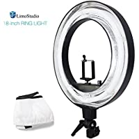 LimoStudio 18-inch Continuous Round Ring Light with Camera Mounting Adapter, Flash Bracket & White Diffuser Cover for Soft Light, Dimmer Control, Beauty Facial / Commercial Product Shoot, AGG2390V2