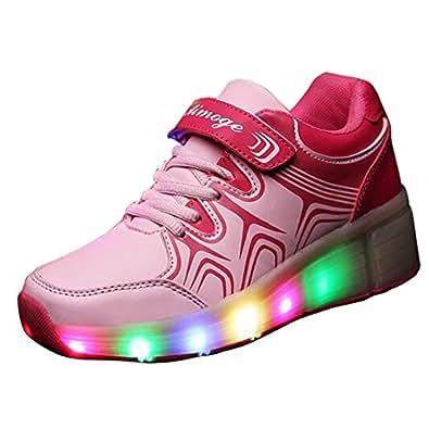 Gaorui Zapatillas Luminous Luz LED Flash Sola Rueda Zapatos Cordones Deporte Monopatín Rosa EU 30