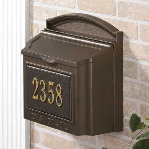 Wall Mounted Locking Mailbox (French Bronze) with Mailbox Number Plaque ()